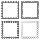 Set of four ethnic square frames with the most popular borders. Set of geometric frames in black color isolated on white background. Four square with ethnic Royalty Free Stock Photos