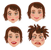 Set of four facial expressions women Stock Images