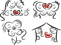 Set of four family/love icons royalty free stock photo