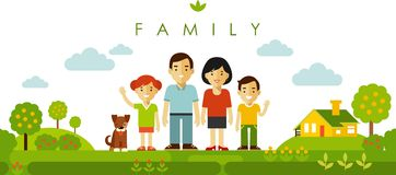 Set of four family members posing together in flat style Royalty Free Stock Photos