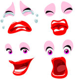Set of four female emoticons emotions with makeup Royalty Free Stock Images