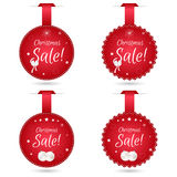 Set of four festive Christmas coupon tags, red with white balls. Suitable for web design and print. Stock Photos
