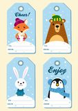 Set of four  festive Christmas tags. Vector illustrations. Set of four  festive Christmas tags. Vector illustrations Royalty Free Stock Photography