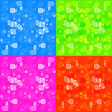 Set of four festive designs with bokeh. Stars circles and ellipses with transparency and glow in the purple, red, and blue zedenom backgrounds Stock Image