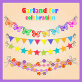 Set of four festive garlands for all occasions Royalty Free Stock Photos