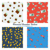 Set of four financial seamless patterns. Vector set of four seamless financial pattern with scattered banknotes, coins and shopping elements on colored Stock Photo