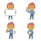 Set of four flat character businessmans. Set of four character businessmans. Flat design Stock Image