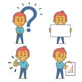 Set of four flat character businessmans. Set of four character businessmans. Flat design Stock Images