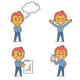 Set of four flat character businessmans. Set of four character businessmans. Flat design Royalty Free Stock Photo