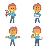 Set of four flat character businessmans. Stock Photo
