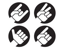 Set of four flat hand gesture vector icons. Stock Photography