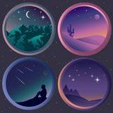 Set with four  flat night landscapes with stars Royalty Free Stock Photo