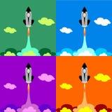 Set four flat Space Shuttle Rocket Icon. Vector Space Shuttle Rocket icon stock illustration