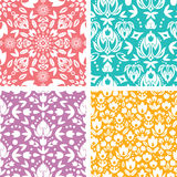 Set of four floral abstract seamless pattern Stock Images