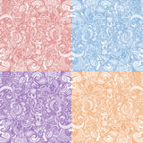 Set of four floral backgrounds. Collection of four monochrome cute floral backgrounds vector illustration