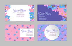 Set of four floral business cards Royalty Free Stock Photography
