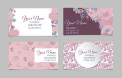 Set of four floral business cards Stock Photos