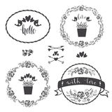 Set of four floral decorative frames, vector. Stock Images