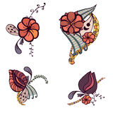 Set of four floral elements for design Royalty Free Stock Photo