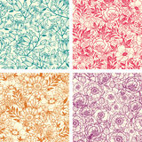 Set of four floral line art seamless pattern Royalty Free Stock Photo