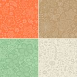 Set of four floral patterns (seamlessly tiling). Seamless patter Royalty Free Stock Photo