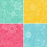 Set of four floral patterns (seamlessly tiling). Seamless patter Stock Photos