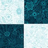 Set of four floral patterns (seamlessly tiling). Seamless patter Royalty Free Stock Image