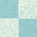 Set of four floral patterns (seamlessly tiling). Seamless patter Royalty Free Stock Images