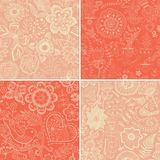 Set of four floral patterns (seamlessly tiling). Stock Photos