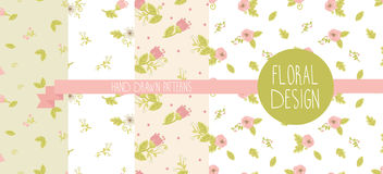 Set of four floral patterns Royalty Free Stock Photography