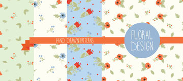 Set of four floral patterns Royalty Free Stock Images