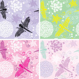 Set of four floral seamless patterns with flowers Royalty Free Stock Photography