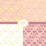 Set of four floral seamless patterns. Vector set of seamless patterns with floral elements. Collection of patterns in pastel colors Royalty Free Stock Photos
