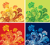 Set of four floral seasonal backgrounds. Set of abstract flower seasonal backgrounds. CMYK Stock Photography