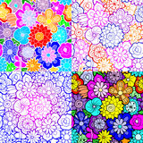 Set of four floral vector seamless patterns. 4 hand drawn vibrant colorful backgrounds with flowers Royalty Free Stock Photo