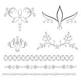 Set of four floral vignettes with tree matching borders royalty free illustration