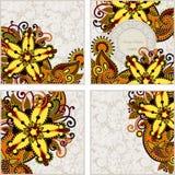 Set of four flower background design. Hand draw ornate set of four flower background design Royalty Free Stock Photos