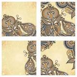 Set of four flower background design. Set of four hand draw ornate flower background design Stock Photo