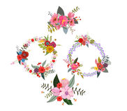 Set of four flower wreaths. Set of four flower wreaths design Royalty Free Stock Images