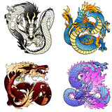 Set four flying Asian colorfull dragon. Set of four Asian east dragons of different colors and elements on the Chinese horoscope. Flying white metal monster Stock Photography
