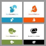 Set of four forest animal icons. Set of forest animal icons to use for logos or mascots. Includes, squirrel, fox, beaver and skunk. Flat minimalist style. Vector Royalty Free Stock Photos