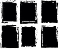 Set of four frames. Grunge style. Black. Royalty Free Stock Image
