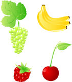 Set of four fruits. Set of shiny gloss fruits and berry Stock Photography