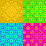 Set four fun geometric patterns. With colorful squares Stock Photos