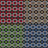 Set four fun geometric patterns with red grey black green and blue decorations Royalty Free Stock Photography