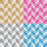 Set four fun grey pink brown and blue geometric patterns Royalty Free Stock Images