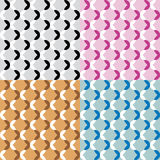 Set of four fun patterns with black white pink blue and brown decorations Royalty Free Stock Photography
