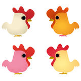 Set of four funny cocks Royalty Free Stock Image