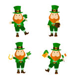 Set of four funny leprechauns in different poses. Stock Images