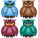 Set of four funny owls Royalty Free Stock Photo